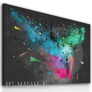 nowoczesny obraz do salonu drukowany na płótnie z kolorowym, abstrakcyjnym jeleniem