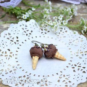 kolczyki czekoladowo-bananowe lody, banan, czekolada, modelina, fimo