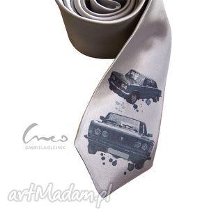 Krawat z nadrukiem - Duży Fiat (szary), krawat, śledź, śledzik, fiat, nadruk