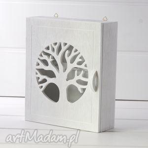 Skrzynka na klucze - Drzewo, biała, klucze, skrzynka, szafka, drzewem, drewniana