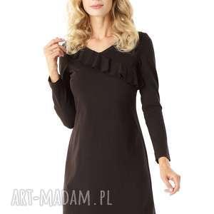 sukienki sukienka z falbanką przy dekolcie czarna, elegancka sukienka, modna
