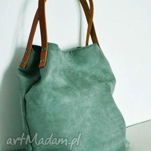 76c8453994563 torba tote - pastelowa zieleń - Na ramię