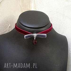 naszyjniki choker - bow /ruby-grey/, choker, aksamitka, swarovski, metal, świąteczny