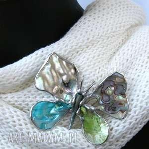 hand-made broszki broszka i wisior (2 w 1): motyl z tęczową muszlą