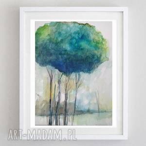 turkusowe drzewa-akwarela formatu