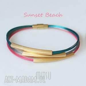 sunset beach, lato, plaża, koralowa, turkusowa, kolorowa, nowoczesna, wyjątkowe