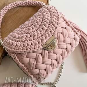 szydełkowa torebka wild bag kolor różowy krem, damska
