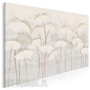 obraz na płótnie - dmuchawce kwiaty kremowy 120x80 cm 90801