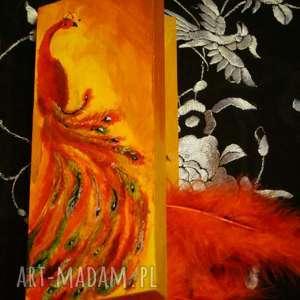 aksinicoffeepainting czerwony paw - drewniane puzderko - piórka