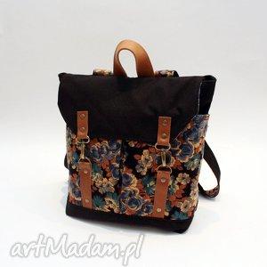 handmade plecak, kwiaty