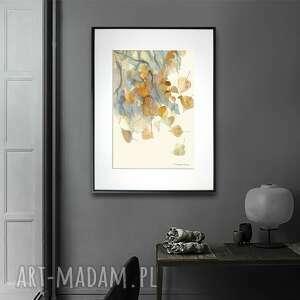 grafika w ramie liście brzozy 30x40, liście, akwarela, jasne, brzoza, podarek