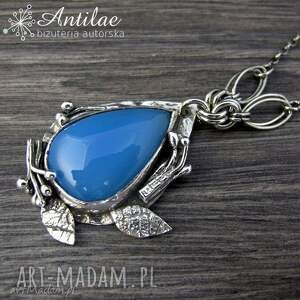 Błękitny naszyjnik, chalcedon, srebro oksydowane, naszyjik srebrny,