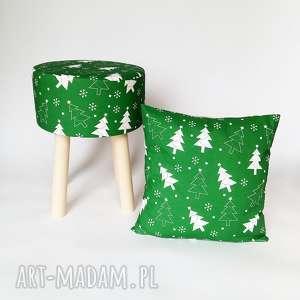 pokrowiec fjerne zielona choinka, stołek skandynawski, puf, dom, krzesło