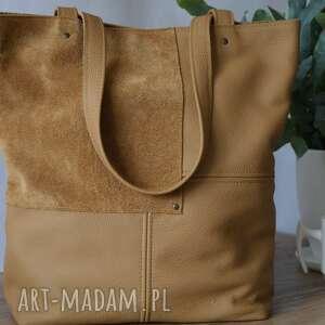 na ramię camelowa torebka, shopper bag, do pracy