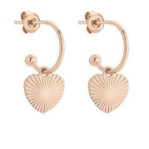 kolczyki z różowego złota z sercami - miłość
