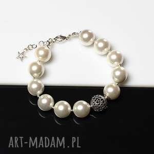 perły seashell - bransoletka, perły, seashell, srebro, ślub