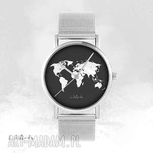 Prezent Zegarek, bransoletka - Mapa świata metalowy, zegarek, bransoletka, metalowa