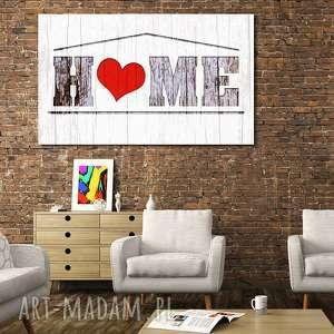 obrazy obraz duże home 04 -120x70cm na płótnie szary biały czerwony