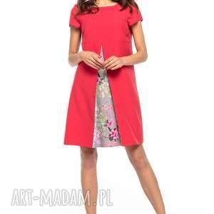 Sukienka z kontrafałdą przodu, T262, czerwony, sukienka, kontrafałda, tkanina