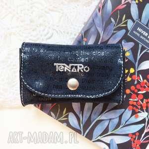 portfele portmonetka skórzana mini z zatrzaskiem granatowa, mini, rękodzieło