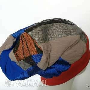 czapka damska smerfetka, szyta patchworkowy na podszewce, obwód głowy