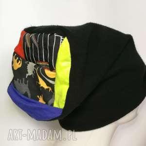 czapka damska czarna ciepłą zimowa patchwork - czapka, etno, boho, zimowa