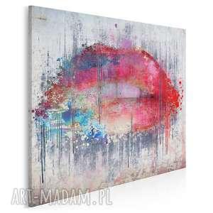 vaku dsgn obraz na płótnie - abstrakcja usta w kwadracie 80x80 cm 23103