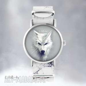 hand made zegarki zegarek - biały wilk marmurkowy, nato