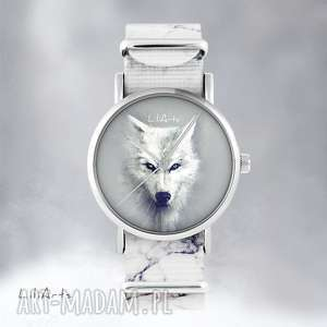 zegarki zegarek - biały wilk- marmurkowy, nato, zegarek, bransoletka, wilk