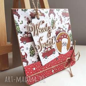 kartka świąteczna z tagiem i mikołajem, święta, święty