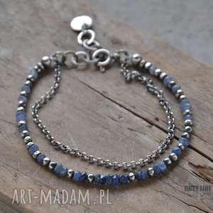 Szafirowa bransoletka, srebro, szlachetne, kamienie, szafir, szafiry, cieniowane