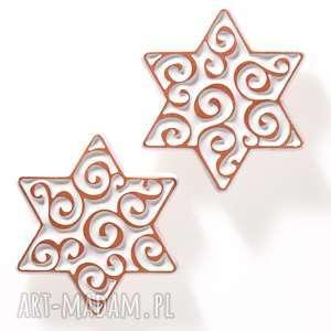 dwie gwiazdki białe na magnes, gwiazdka, prezent, ceramika, dekoracja, magnes