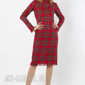 amber - wełniana sukienka w szkocką kratę, wełniana, czerwona