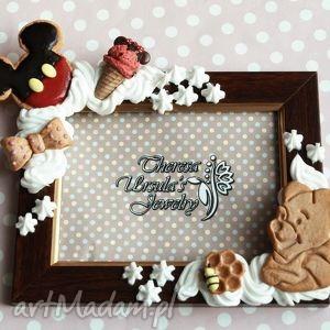 ramki słodka bajkowa ramka, modelina, słodkości, mickey, puchatek, minnie dom