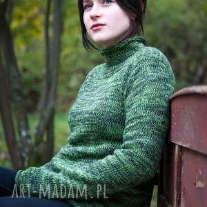 handmade swetry zielony melanżowy sweter z kominem