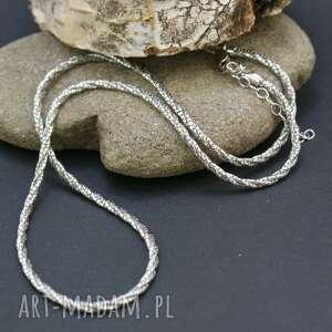 naszyjnik srebrny, naszyjnik, łańcuszek, błyszczący, skręcany