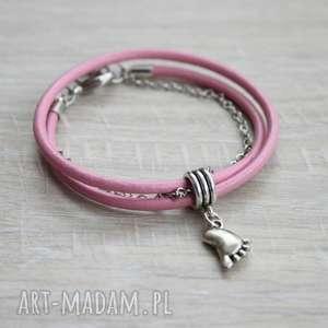 różowa podwójna bransoletka stopka, stópka, bransoleta, zawijana