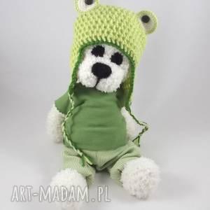 wernika żabek - szydełkowy miś, personalizacja, maskotka, czapka żaba, miś