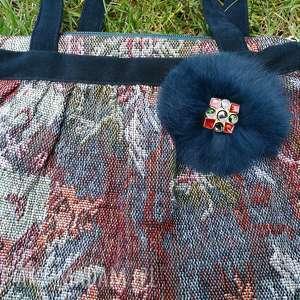 torebka damska retro futerko vintage handmade, futerko, retro, folk, ludowa