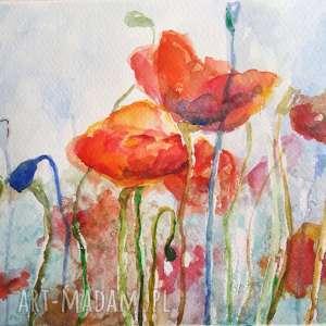 pod choinkę prezent, akwarela - maki 18/24 cm, akwarela, kwiaty, pomarańcz