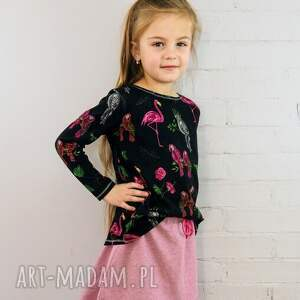 Bluzka FLAMINGI, bluzka, dziecko, dziewczynka, flamingi, wiosna, papugi