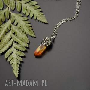 hand-made wisiorki wisiorek kryształ górski królewska aura stal chirurgiczna wire