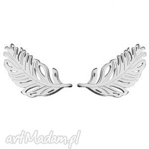 srebrne kolczyki piórka sotho - wkrętki sztyfty, kobiece, srebro