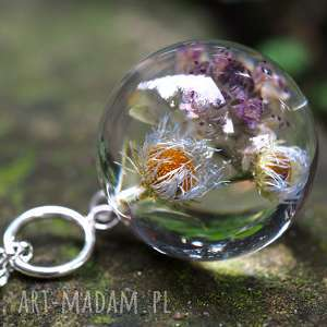 naszyjniki naszyjnik z kwiatami żywicy i srebra, żywica, kwiaty, natura