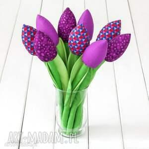 Prezent TULIPANY ciemno fioletowy bawełniany bukiet, tulipany, kwiaty, rocznica