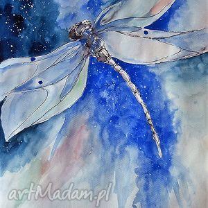 Praca akwarelą i piórkiem WAŻKA artystki plastyka Adriany Laube, ważka, księżyc, owad