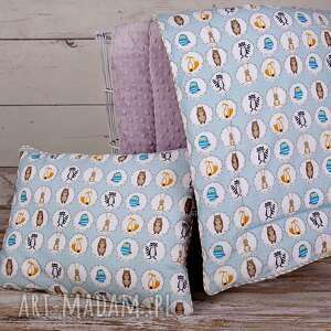Komplet minky - kocyk i poduszka Leśni przjaciele, kocyk, minky, polar, polarowy,