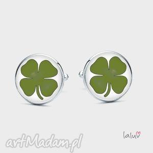 spinki do mankietów koniczyna - szczęście, symbol, talizman, czterolistna