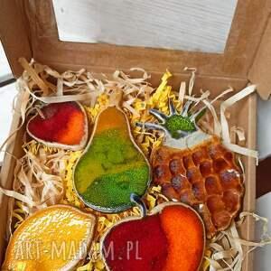 magnesy na lodówkę - owoce, wystrój wnętrza, ozdoba kuchni, ceramika artystyczna
