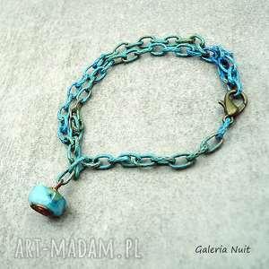 łańcuszek z agatem - bransoletka, turkusowa, lazurowa, malowana, agat